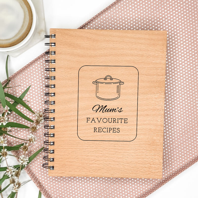 Wooden Engraved Note Book - Favourite Recipes