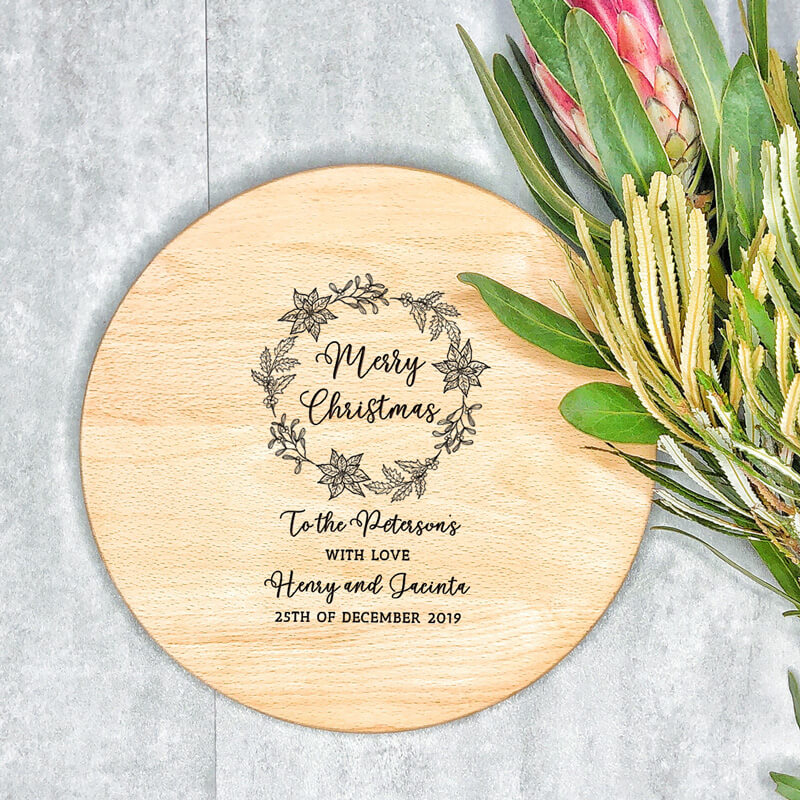 Personalised Cutting Board - Merry Christmas Wreath