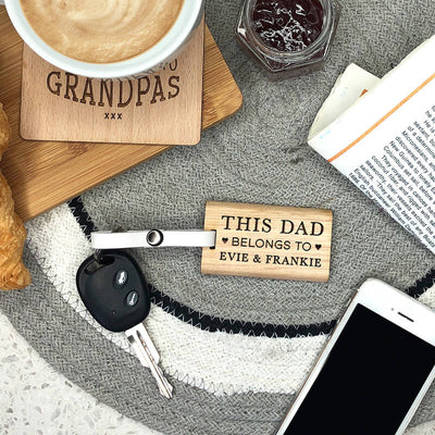 Our Dad Wooden Keychain