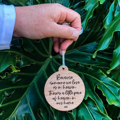 'Heaven in our Home' Christmas Wooden Ornament Double-sided | Modern