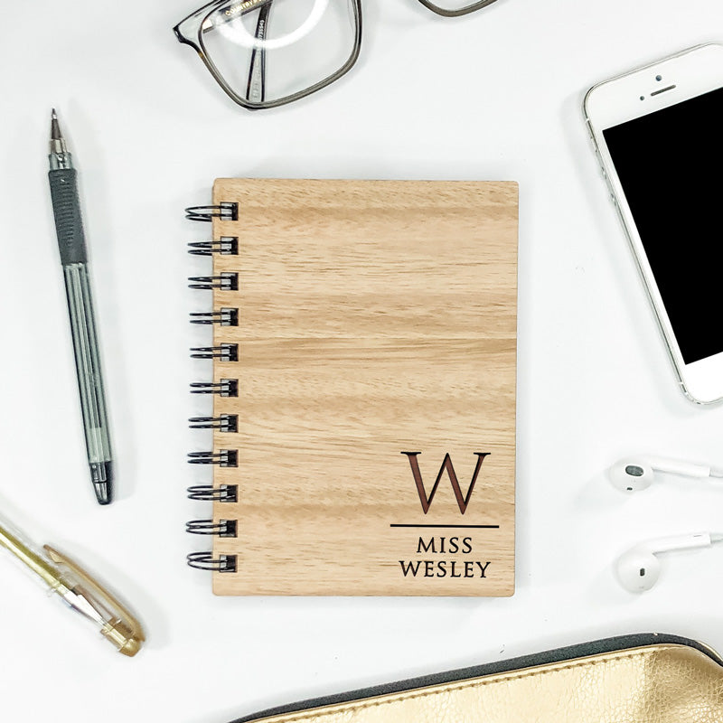 Wooden Engraved Note Book - Initial Duo