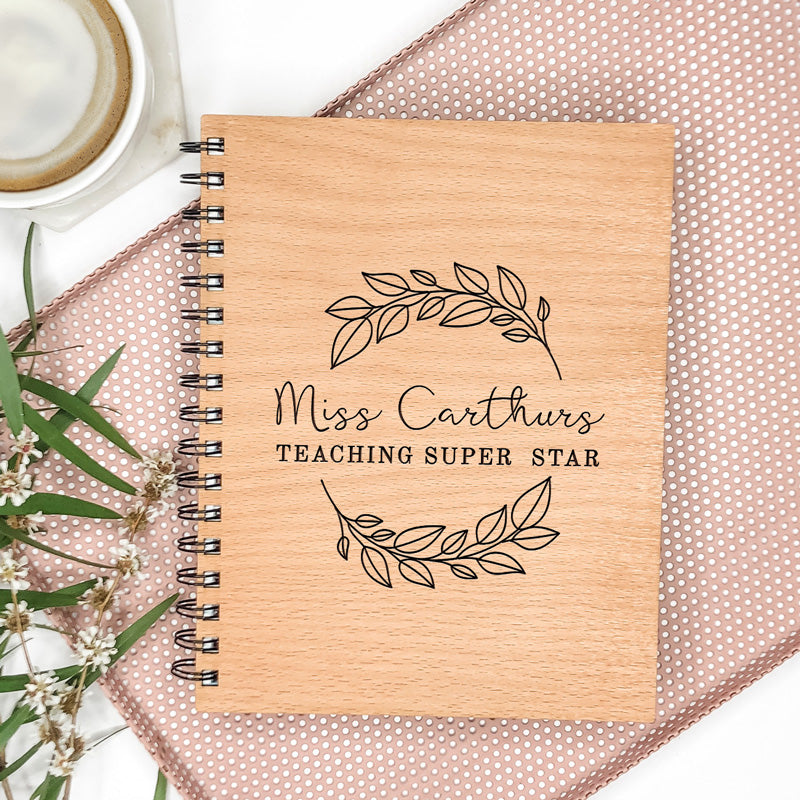 Wooden Engraved Note Book - Script Wreath