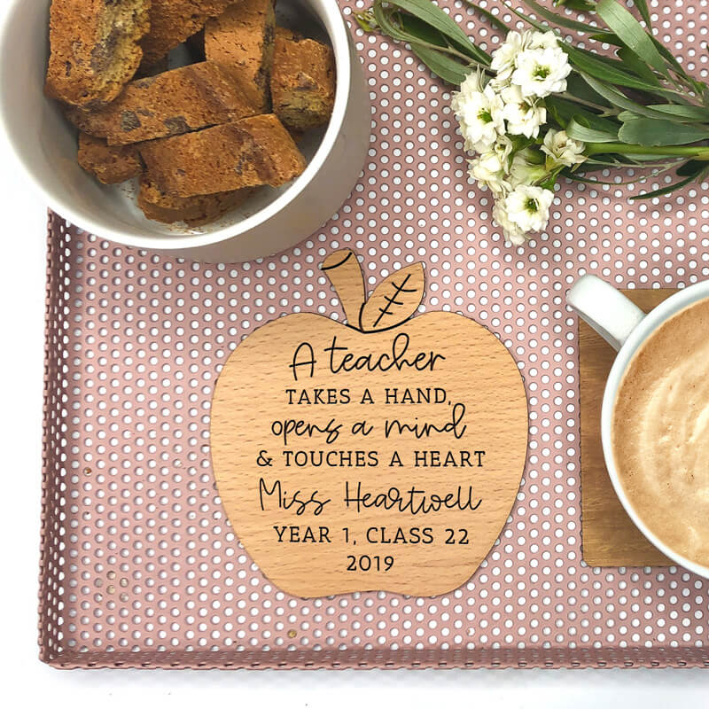 Personalised Teacher Wooden Coaster -  A teacher