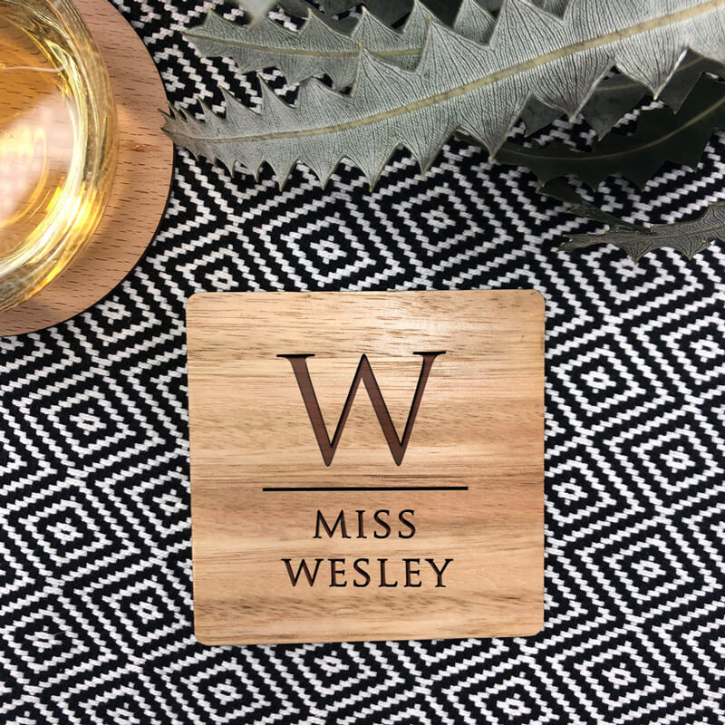 Personalised Wooden Coaster -  Initial Duo