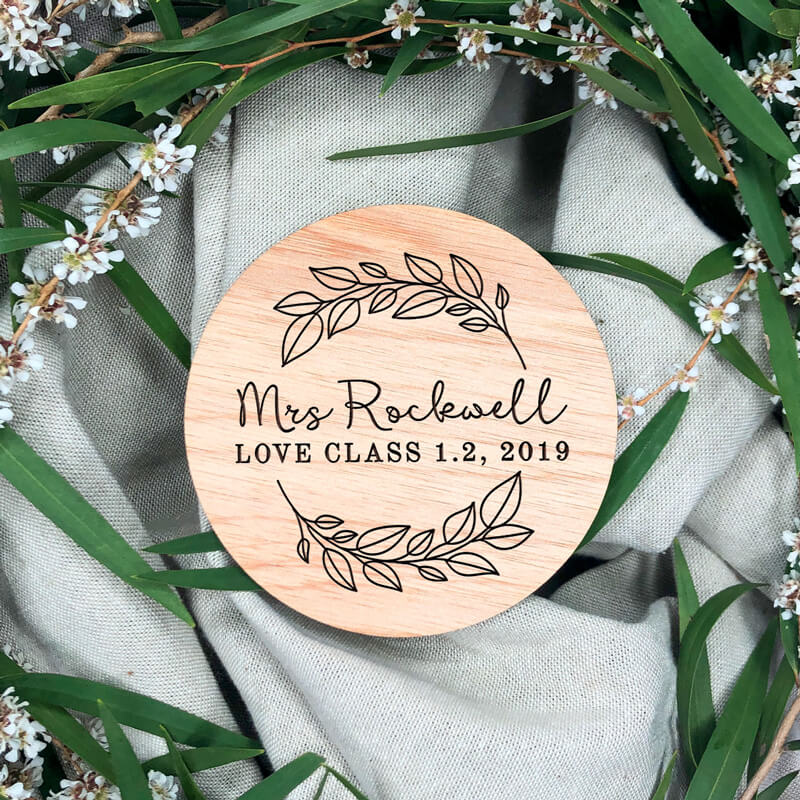 Personalised Wooden Coaster -  Simple Wreath