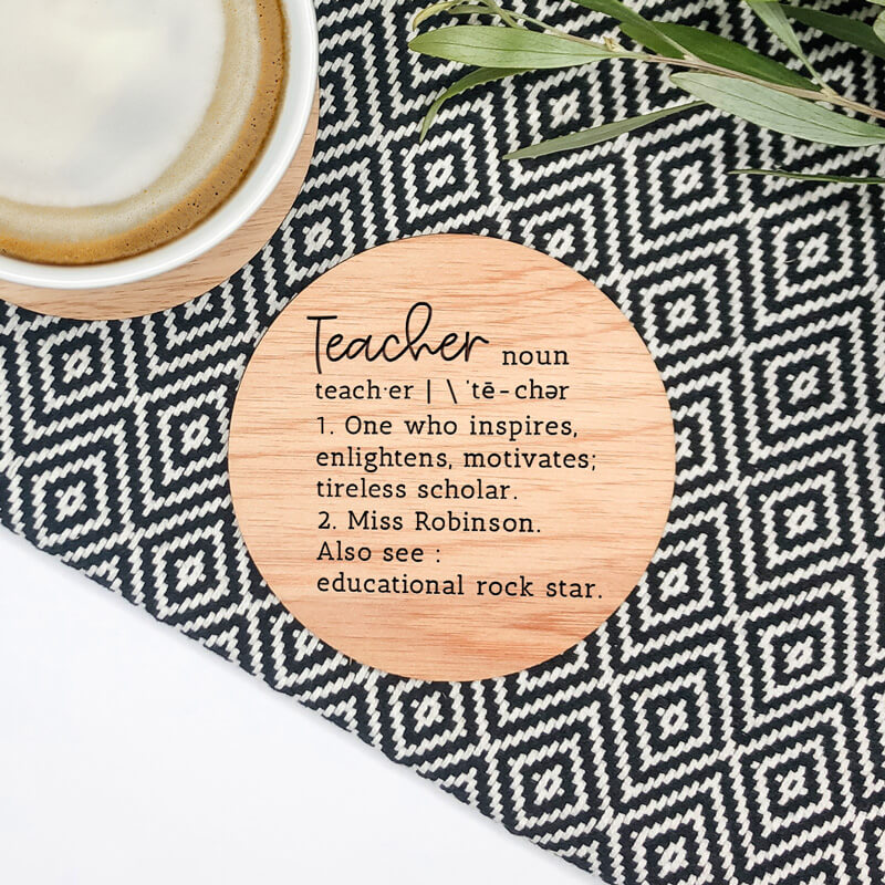 Personalised Teacher Wooden Coaster - Teacher Definition