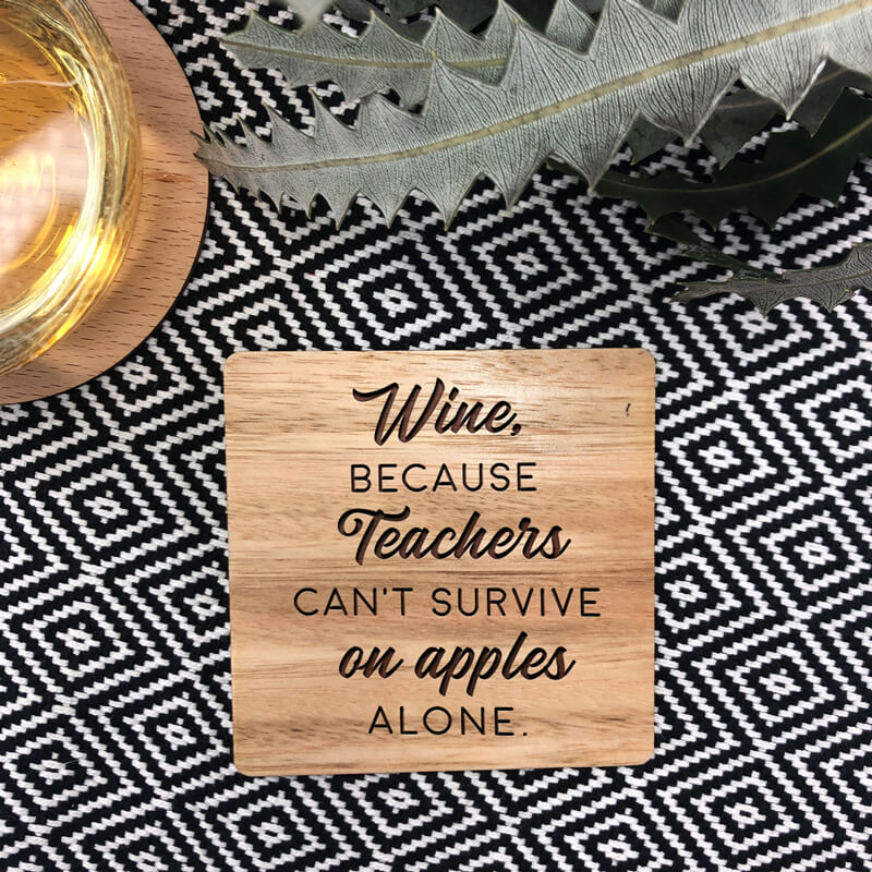 Personalised Teacher Wooden Coaster - Teacher Survival