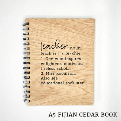 Wooden Engraved Note Book - Teacher Definition