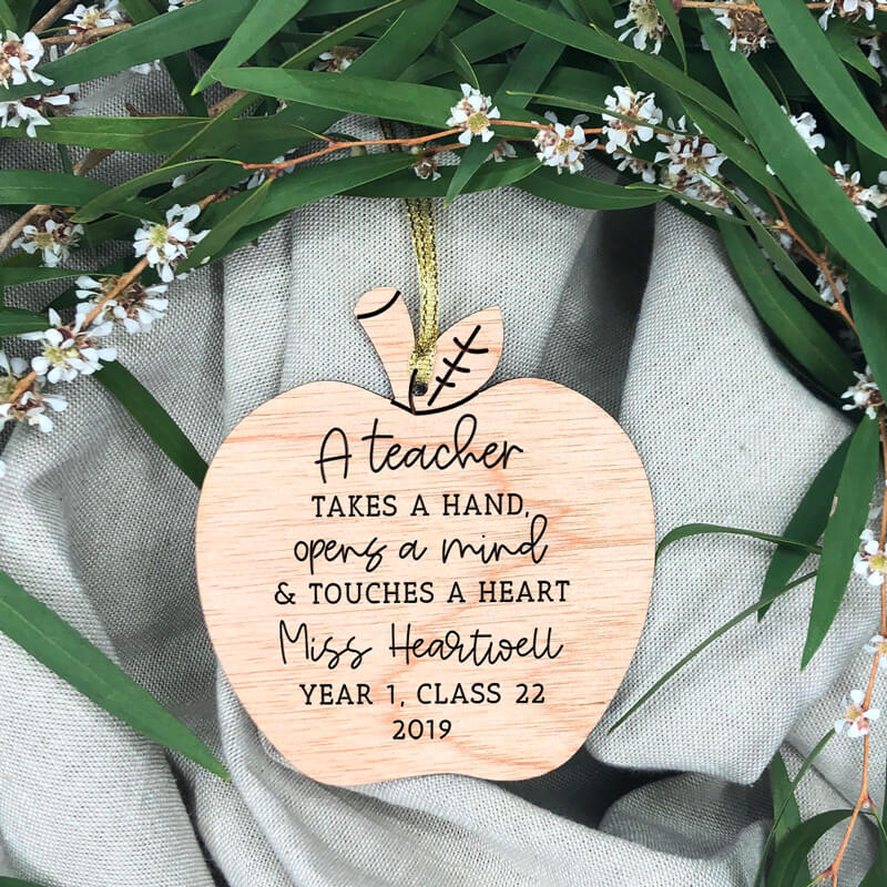 Wooden Christmas Ornament - A Teacher