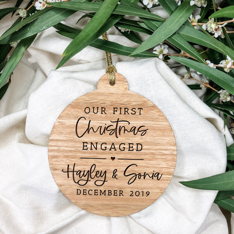 Our First Christmas Engaged Wooden Christmas Ornament
