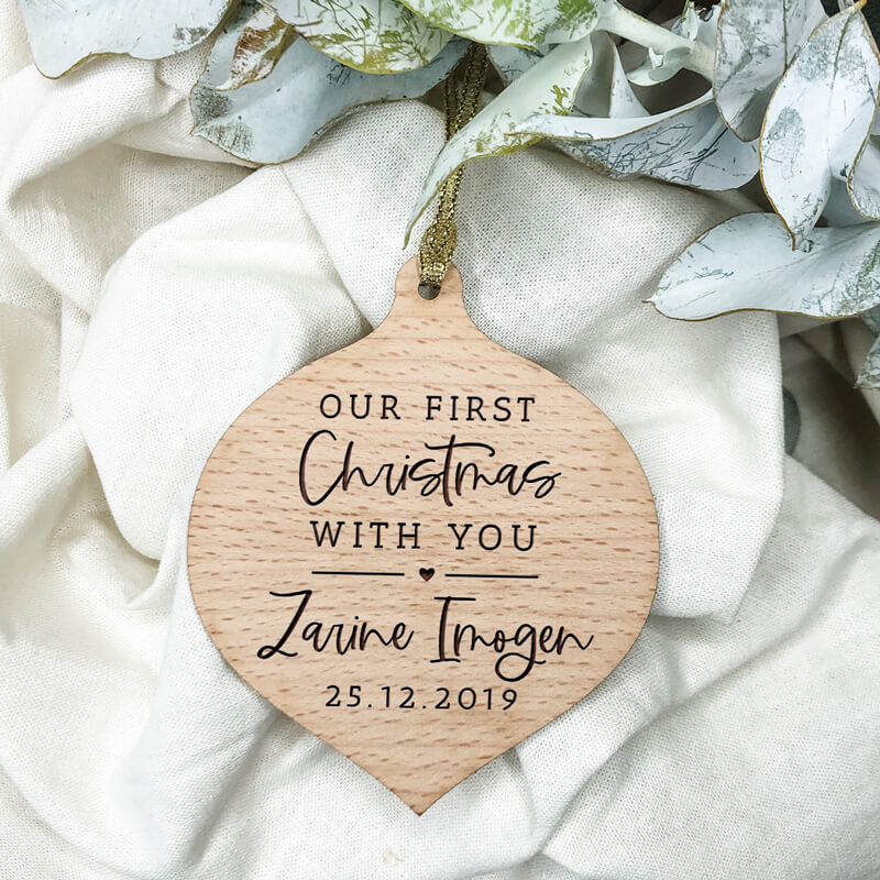 Our First Christmas With You Wooden Christmas Ornament