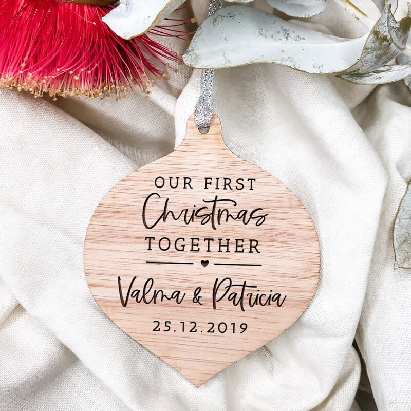 Our First Christmas Together Wooden Christmas Ornament