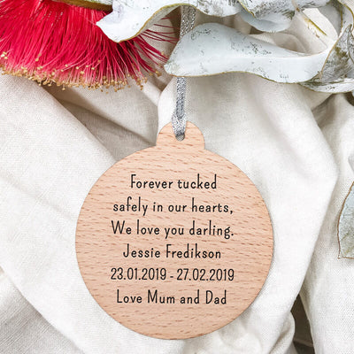'Your Wings' Christmas Wooden Ornament Double-sided | Modern