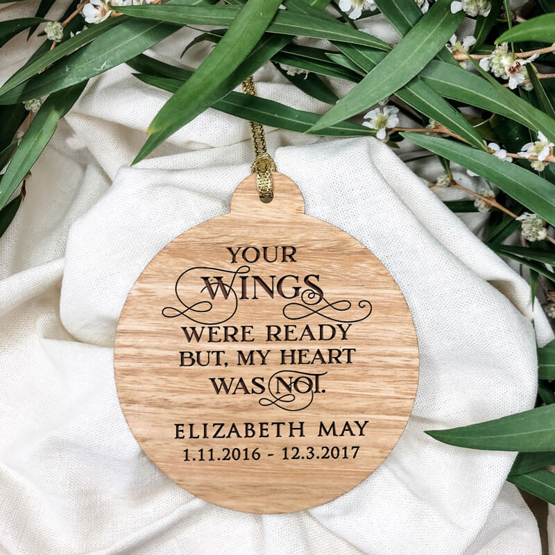 'Your Wings' Christmas Wooden Ornament Traditional