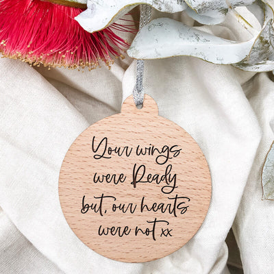 Personalised-Wooden-Ornaments-Our-Hearts-Two-sides-Hands,-One-sided-Your-Wings-Modern-Verion,-MIss-Bold-Design,-Memorial-Ornament,-Wooden,-Laser-engraved-Perth-WA
