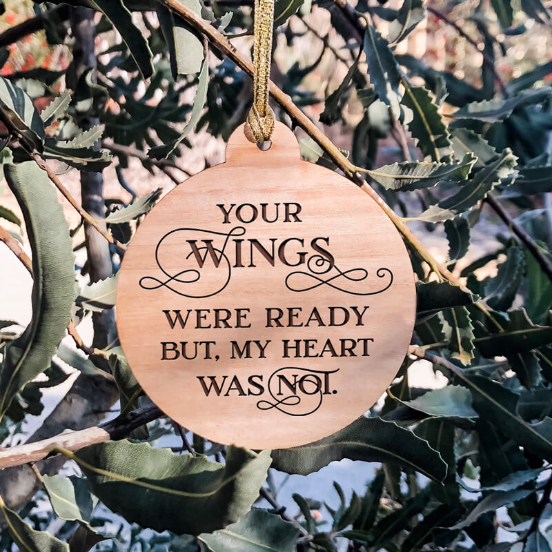 'Your Wings' Christmas Wooden Ornament Double-sided