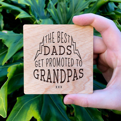 Promoted Grandpa Wooden Coaster