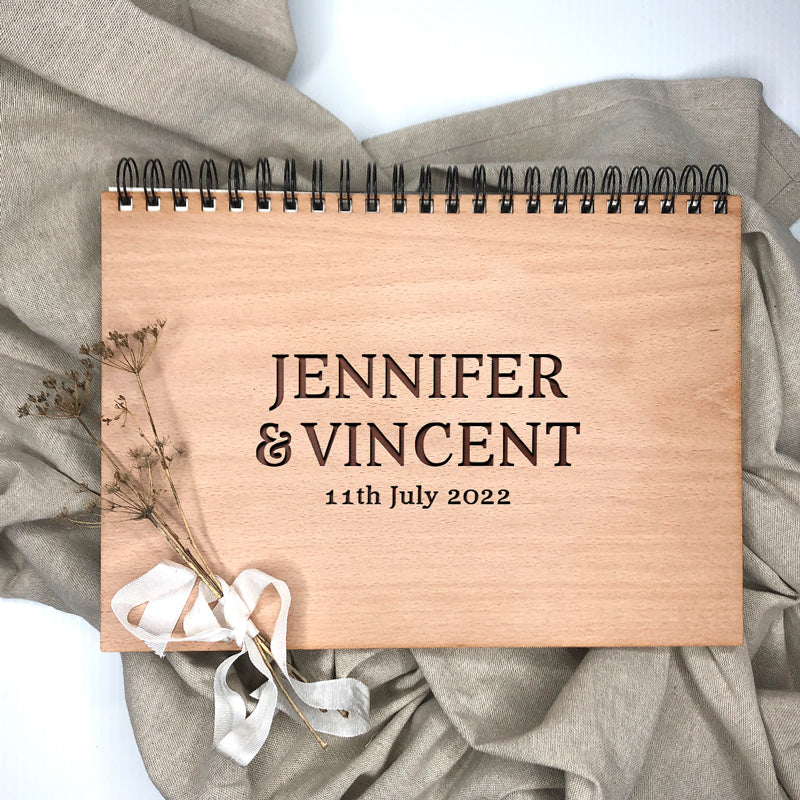 Wooden Wedding Book - Simple Names
