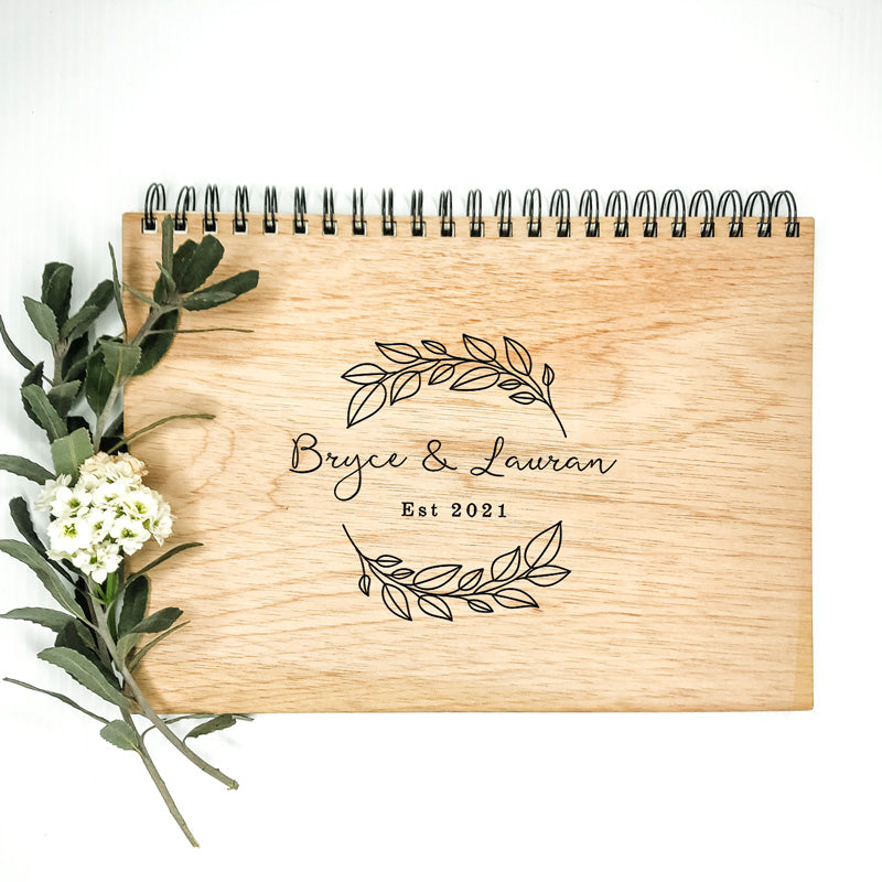 Wooden Wedding Guest Book - Simple Wreath