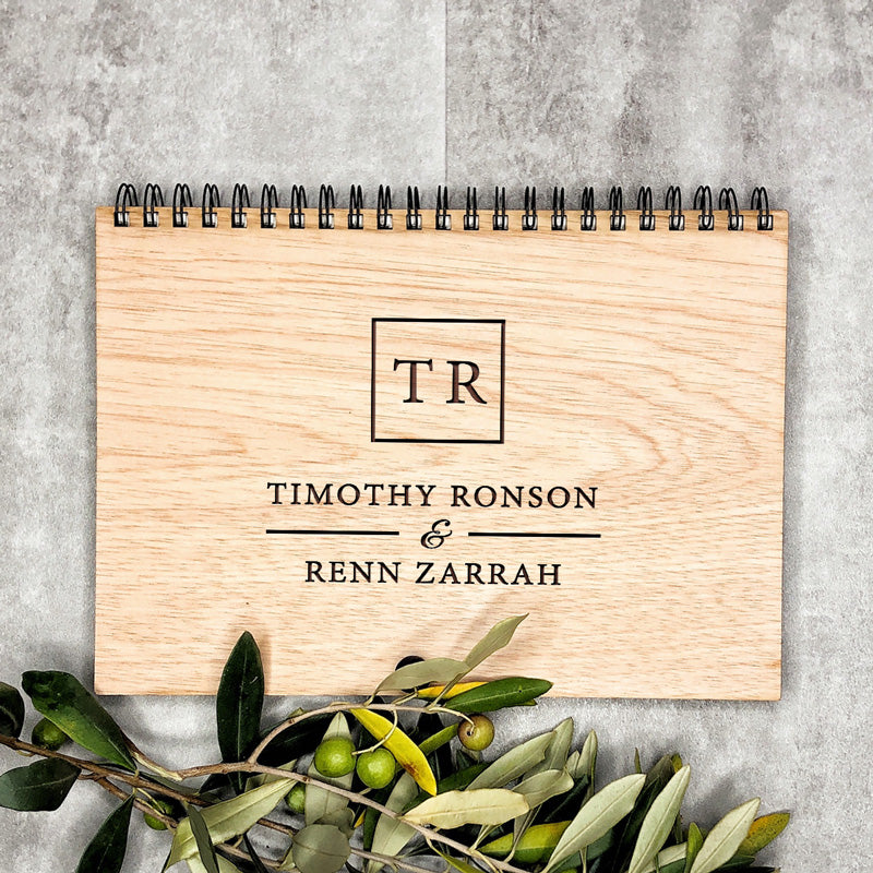 Wooden Wedding Engraved Book - Square Initials