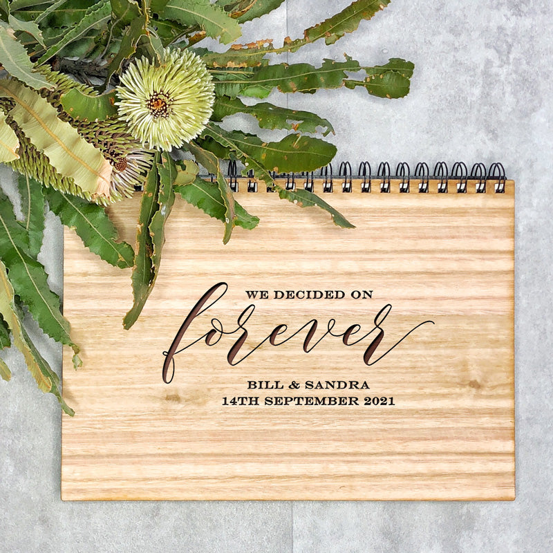 Wedding Wooden Book - We decided on Forever