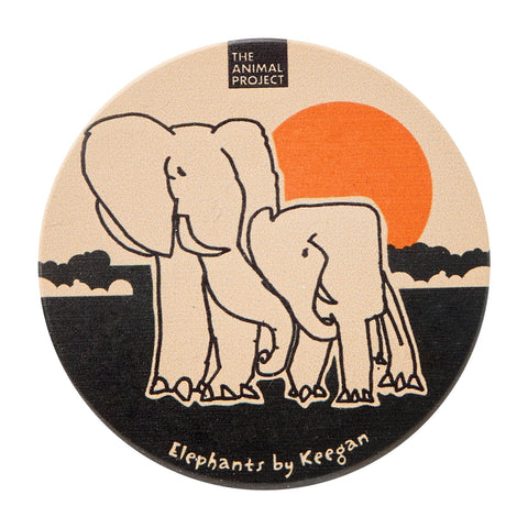 Ceramic Fridge Magnet - Elephant by Keegan