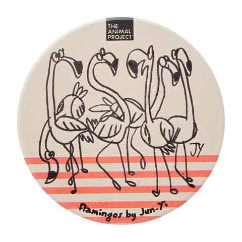 Ceramic Fridge Magnet - Flamingo