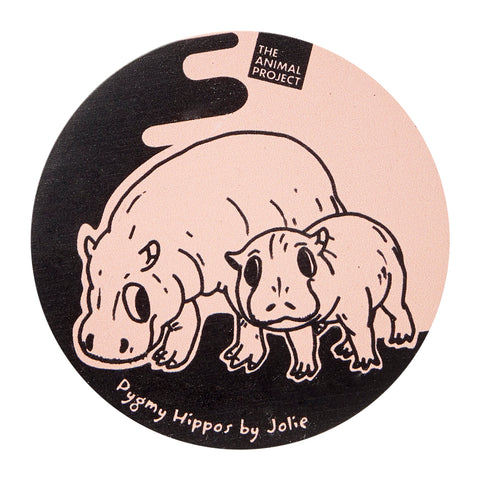 Ceramic Fridge Magnet - Pygmy Hippo by Jolie