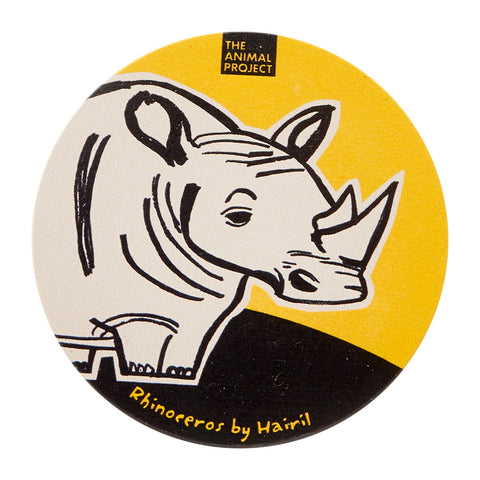 Ceramic Fridge Magnet - Rhinoceros by Hairil