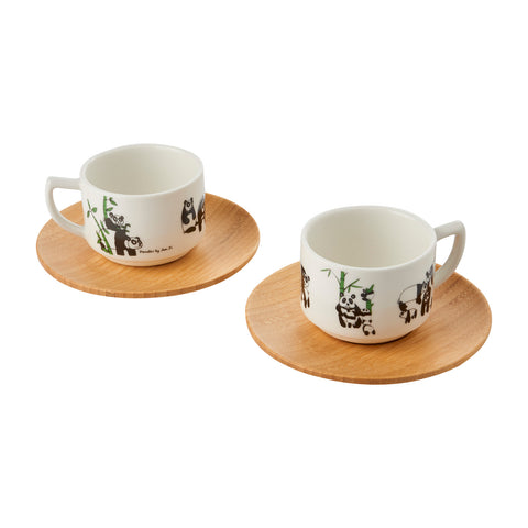 Espresso Cup (Set of 2) - Panda w/ Green Bamboo