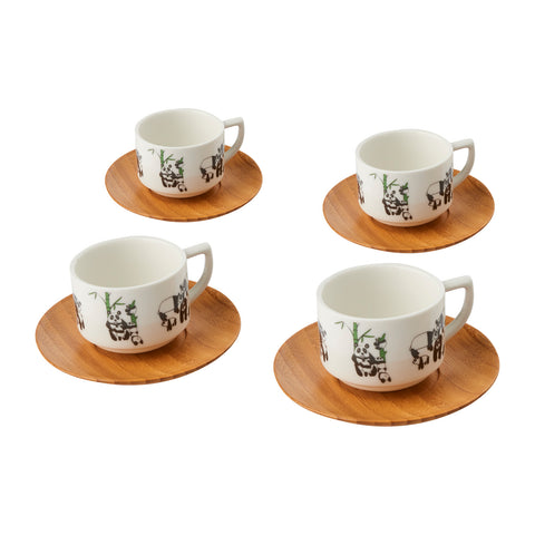 Espresso Cup (Set of 4) - Panda w/ Green Bamboo