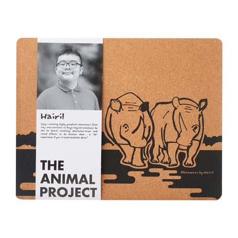 Placemat (Set of 2) - Rhinoceros by Hairil
