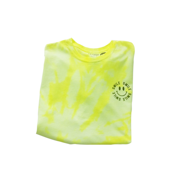 Neon Yellow Tie-Dye Smile T-Shirt.