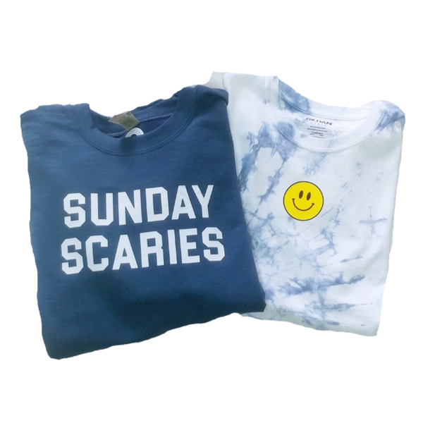 Blue Sunday Scaries Crewneck Sweatshirt & Blue Tie-Dye Smiley Face T-Shirt.