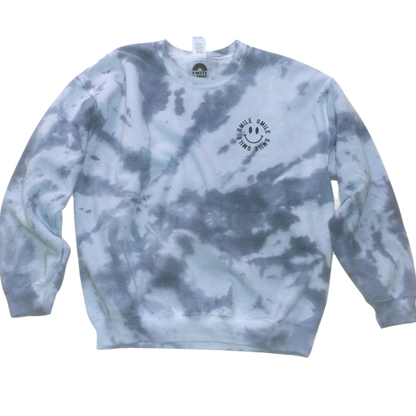 Blue Jean Tie-Dye Smile Sweatshirt & Face Mask.