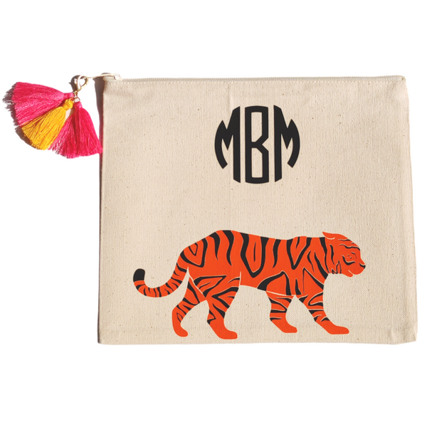 Monogram Tiger Zipper Canvas Pouch.