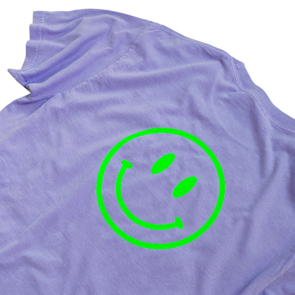 Pink Smiley Face Lightning Bolt Sweatshirt.