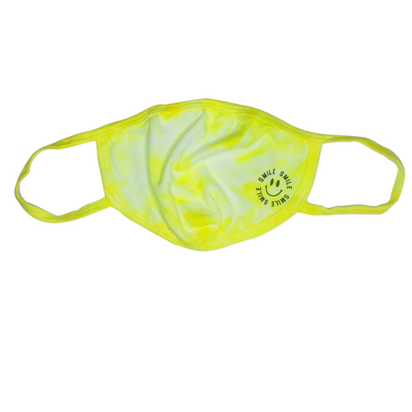 Neon Pink, Yellow & Green Tie-Dye Smile Face Mask.