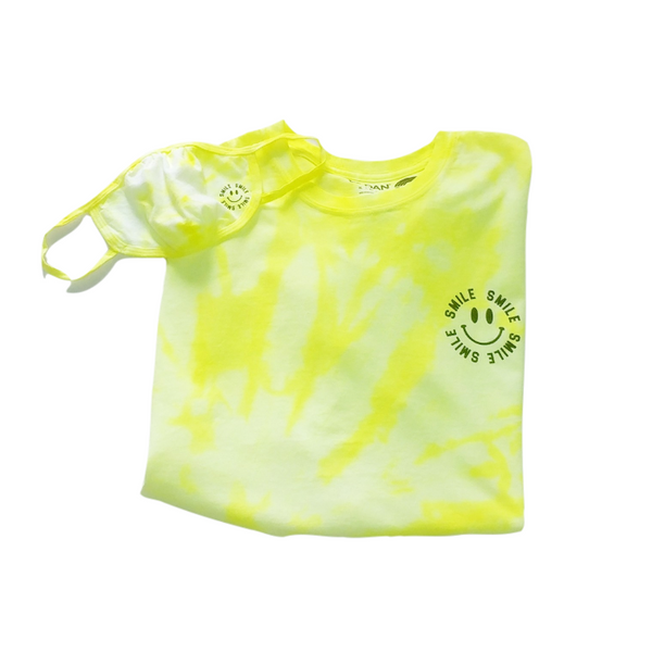 Neon Yellow Tie-Dye Smile T-Shirt & Face Mask (sold seperate).