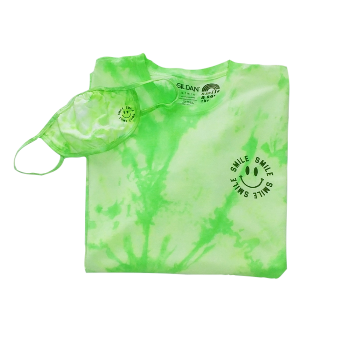 Neon Green Tie-Dye Smile T-Shirt & Face Mask.