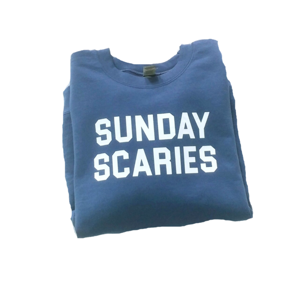 Blue Sunday Scaries Crewneck Sweatshirt.