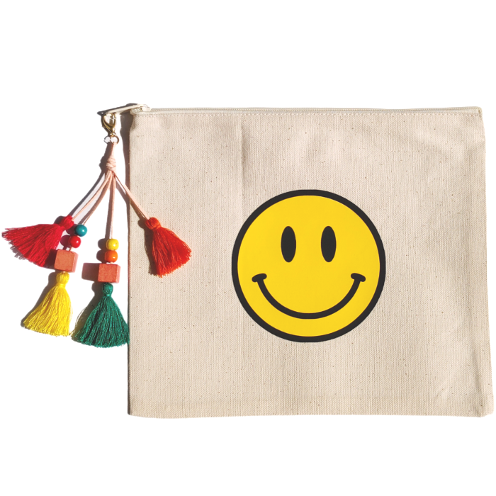 Smiley Face Colorful Beaded Tassel Canvas Zipper Pouch.