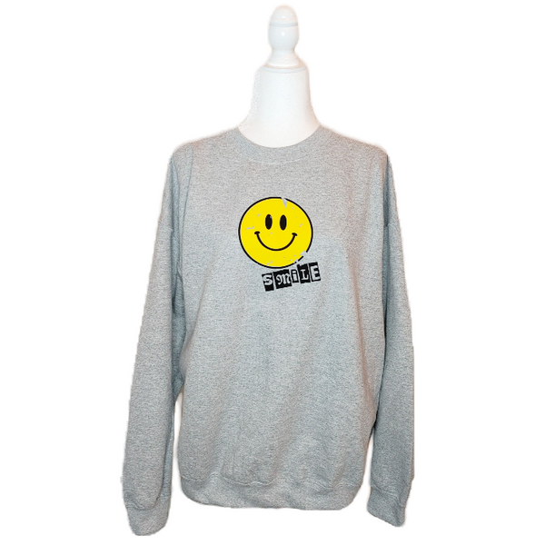Distressed Smiley Face Crewneck Sweatshirt.