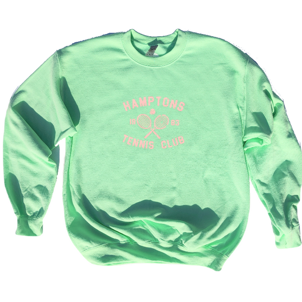 Mint Green Hamptons Tennis Club Crewneck Sweatshirt.