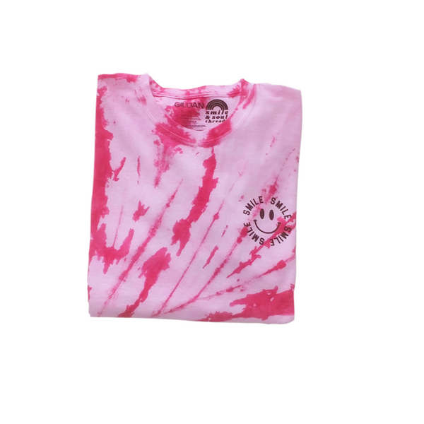 Neon Pink Tie-Dye Smile T-Shirt & Face Mask.
