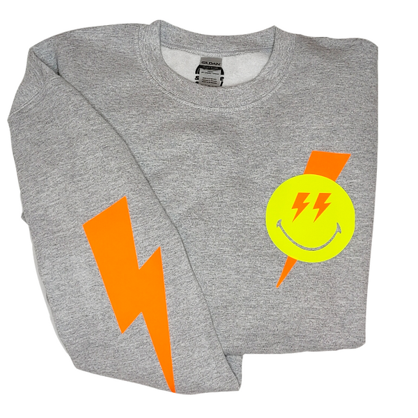Smiley Face Lightning Bolt Crewneck Sweatshirt.