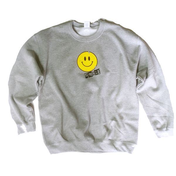 Distressed Smiley Face Graphic Sweatshirt.