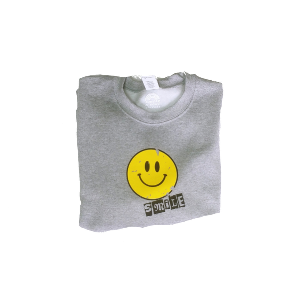 distressed smile sweatshirt
