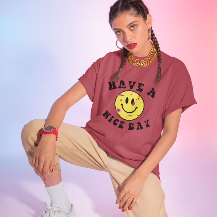 Distressed Have a Nice Day Smiley Face Graphic T-Shirt.