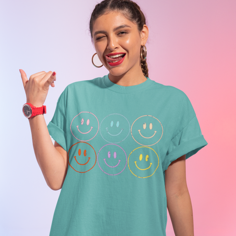 Distressed Smiley Face Graphic T-Shirt.